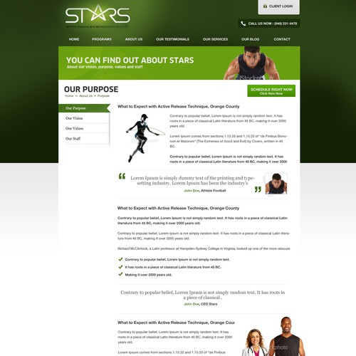 Create the next website design for STARS performance Training and sports medicine