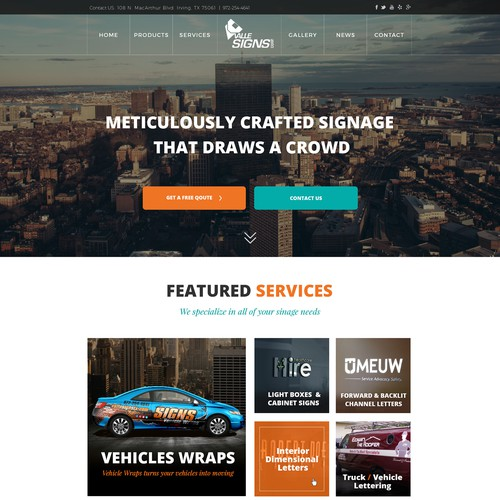 Website for Signs and Vehicle Wraps Company