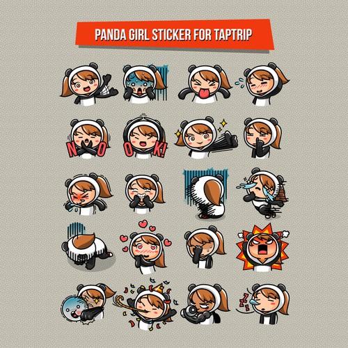 Panda Girl Sticker Design