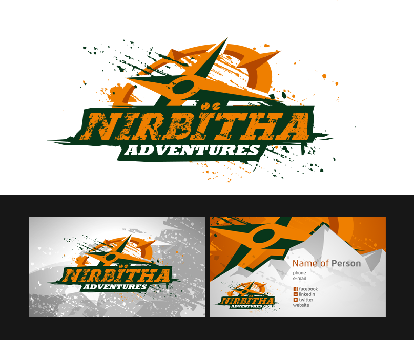Create the next logo and business card for Nirbïtha Adventures