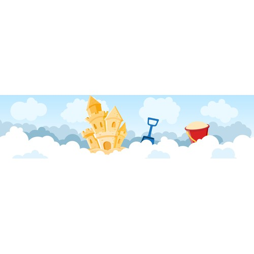 """Sandcastle in the clouds"" graphic for software company"