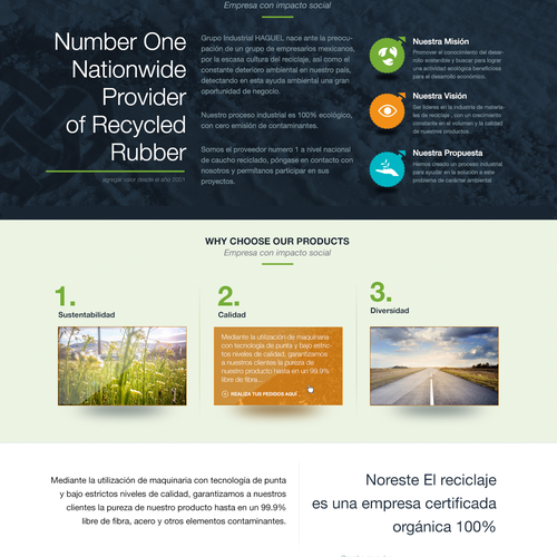 Homepage concept for a sustainability company recycling tires