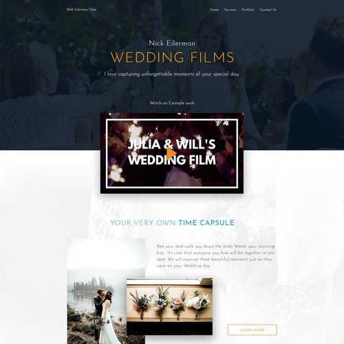 Homepage entry for a wedding film site