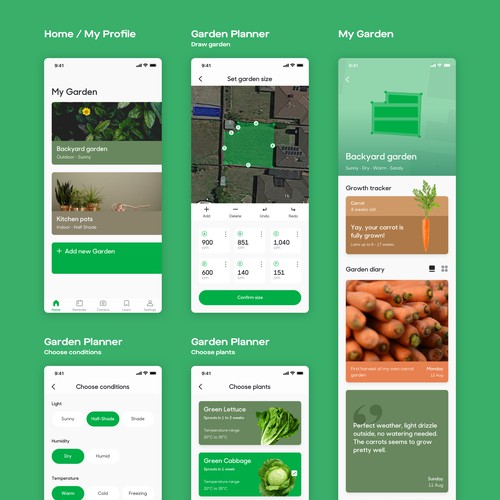 App design concept for Grow App