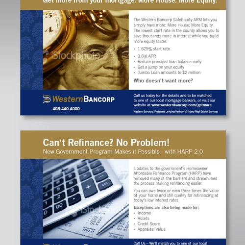 Print ad series for Western Bancorp: template with two different messages