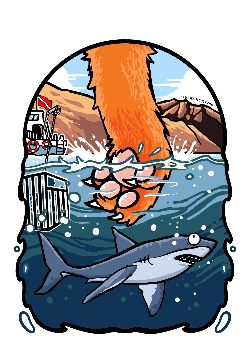 Cat fishing for Shark tshirt design