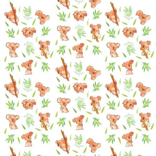 Seamless Koala pattern for baby blanket