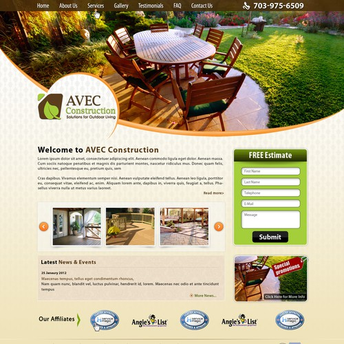 website design for AVEC Construction