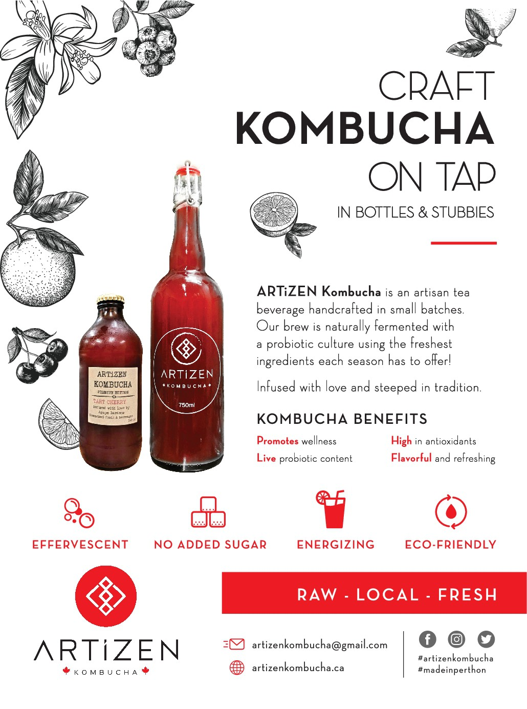 Simple, clean signage for ARTIZEN Kombucha On Tap