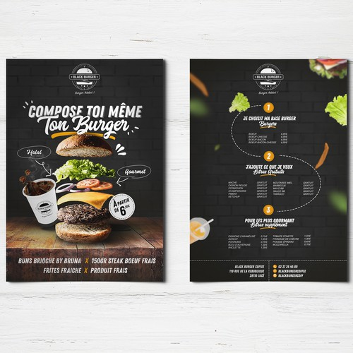 Flyer burger rétro hipster