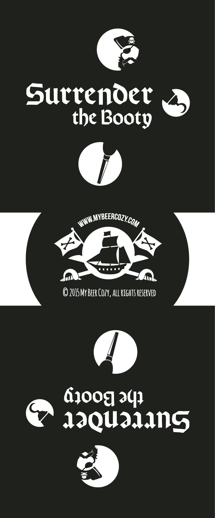 My Beer Cozy Pirate-Themed Designs: 4 Separate Designs + 1 Bottom Design