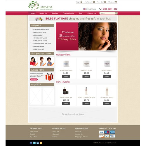 Website Design for Ecommerce Business - Hair Care Products Retailer