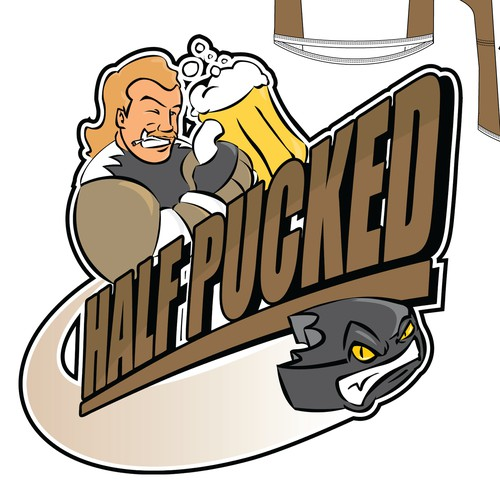 Logo for Hockey Team jersey - Funny / Creative - Team Name 'HalfPucked' or 'Pucked Up'
