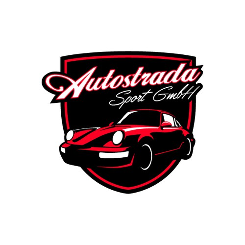Vintage logo for old Porsche car reseller