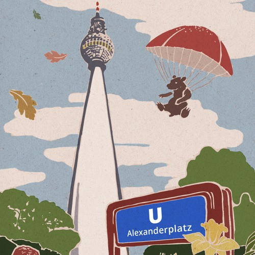 postcard illustration for Berlin TV tower