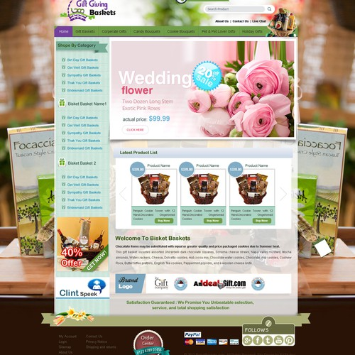 Gift Giving Baskets needs a new website design