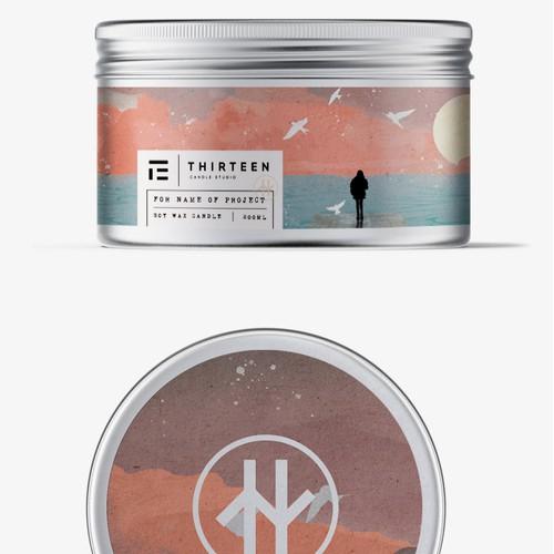 Candle label with unique illustration