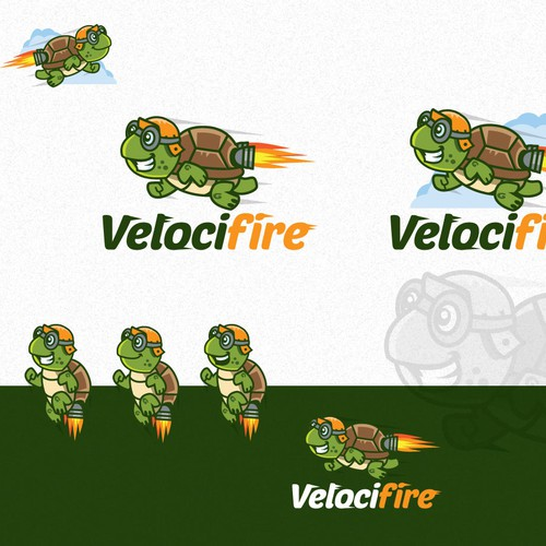 Create a speedy turtle mascot for Velocifire