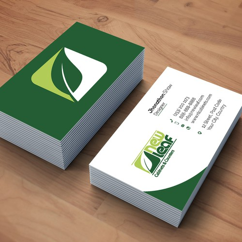 Clean and Modern Business Card for New Life Cabinates and Counters.