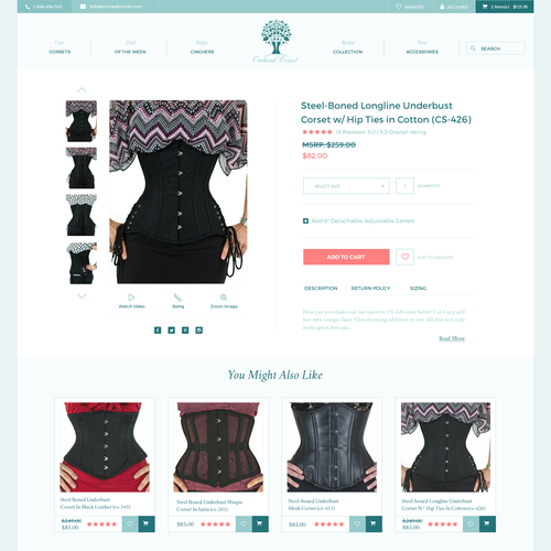 product page for Orchard Corset