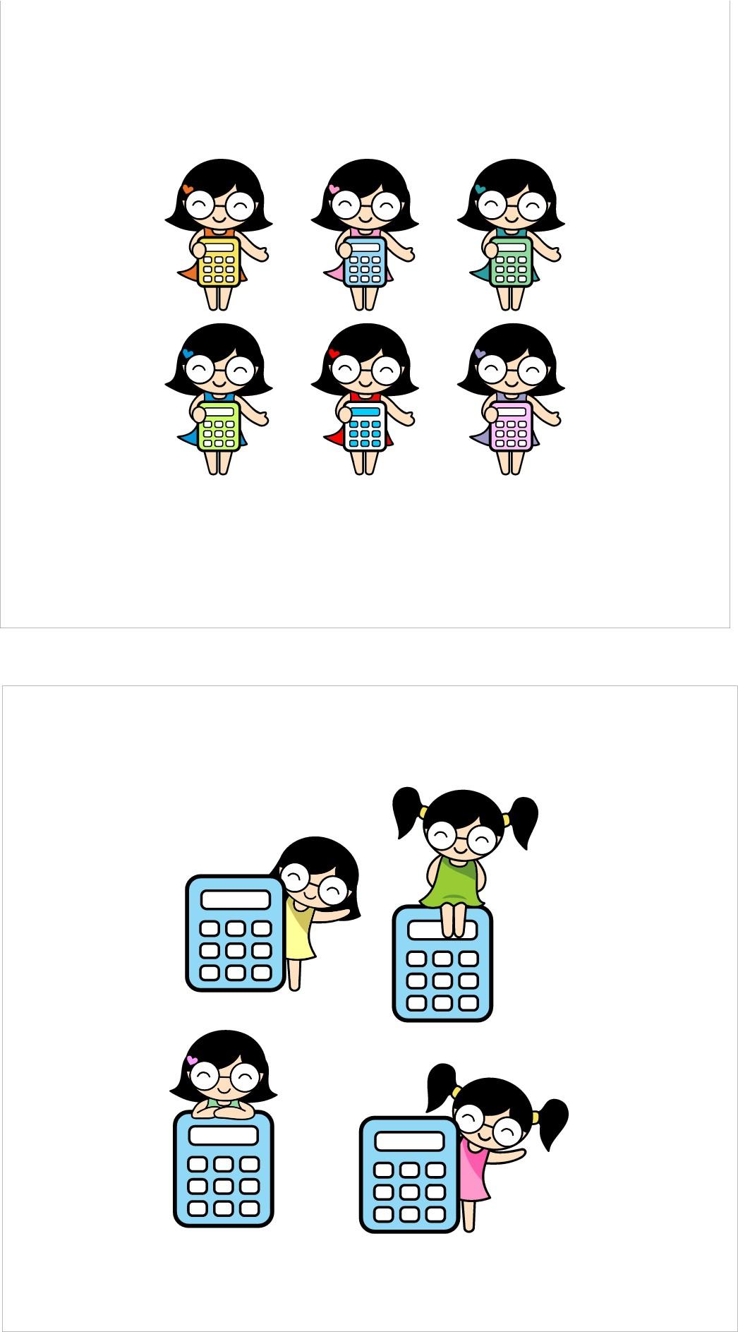 Create a Simple Cartoon Logo of a CUTE, aesthetically pleasing  Girl with a Calculator.
