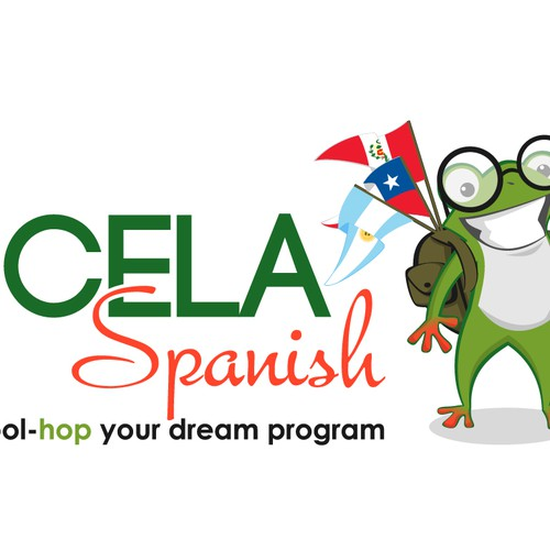 "ECELA Spanish, logo should include a FROG mascot.  tagline ""school-hop where you want, when you want"""