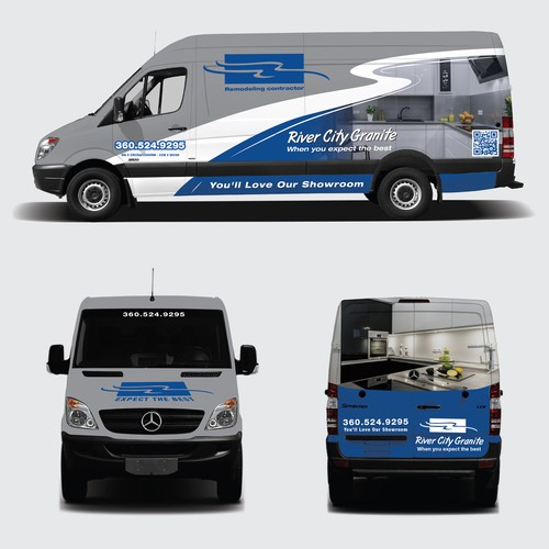 Granite and remodeling company needs classy new van wrap