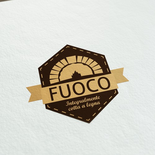 Badge logo concept for pizza made in wood only oven