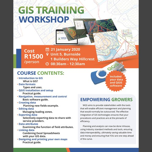 A simple design required for a single page advert for a GIS training course.