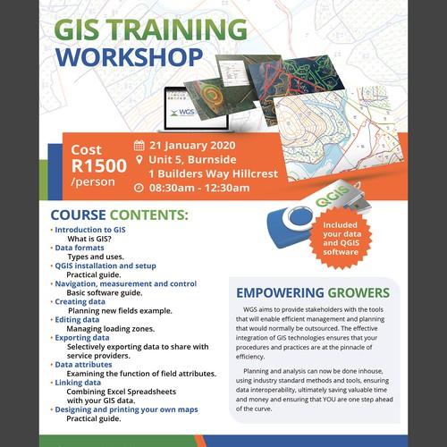 GIS培训课程的单页广告所需的简单设计。