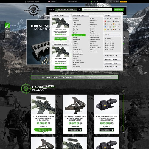 Re-Design for HIGH-END Firearms (AR-15's) E-Commerce Site MUST BE THE BEST!
