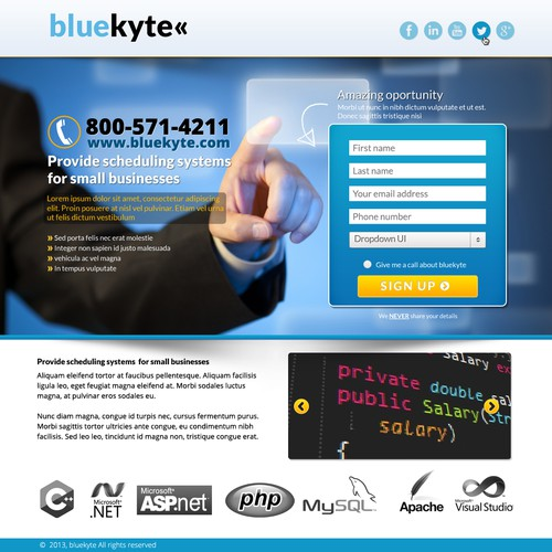 landing page for bluekyte
