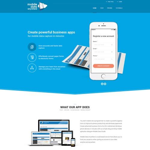 Mobile Data Anywhere homepage