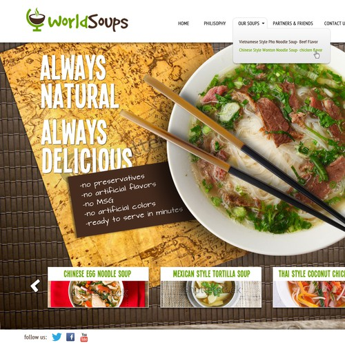 Website for a soup company