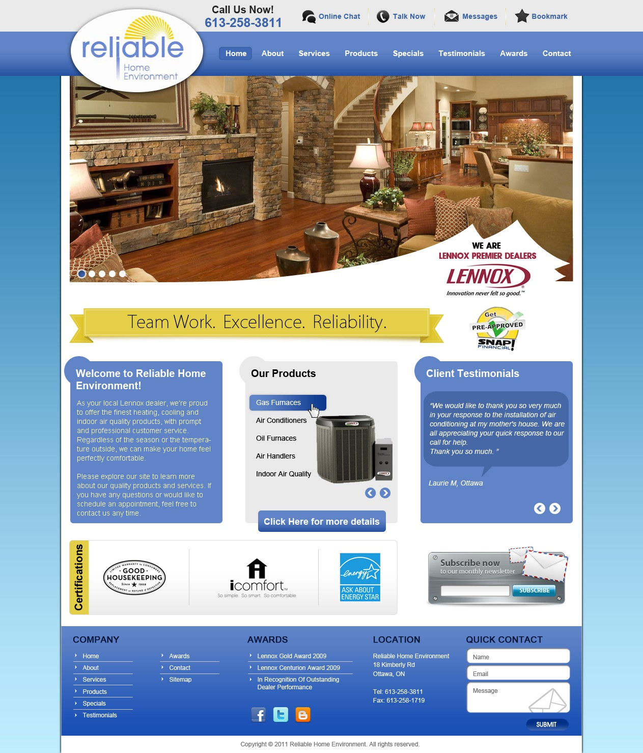 Help Reliable Home Environment with a new website design