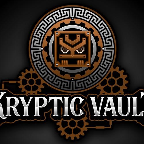 Kryptic Vault Mayan Steampunk Logo Design