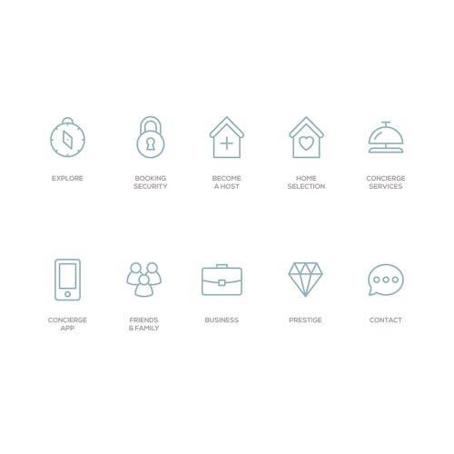 Icon set for Riviera Collections, a property rental startup