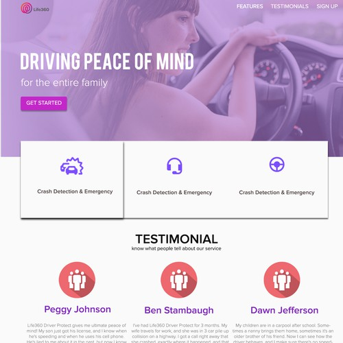 Material design based website for Life360