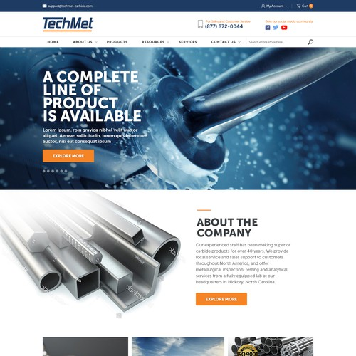 Simple, Modern E-Commerce site design for a Tungsten Carbide distribution