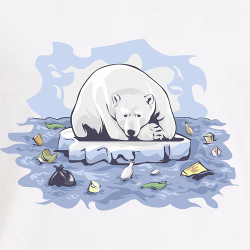 illustration of the sadness of the polar bear