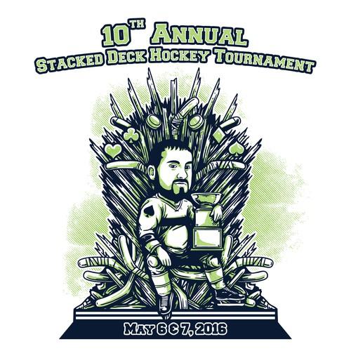 Hockey Tournament T-Shirt featuring cariacature