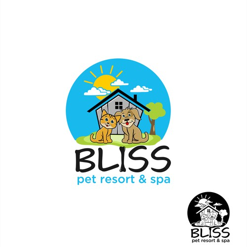 A character Logo for Bliss Pet Resort & Spa