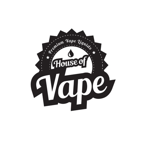 E-Liquid logo for vape shop signage and bottles.