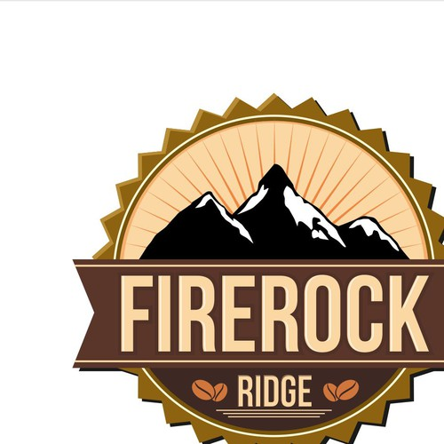 Create a picturesque coffee logo for FireRock Ridge