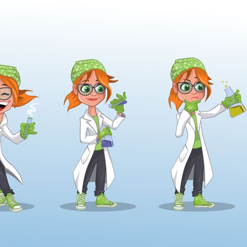 science-themed character mascot