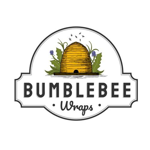 vintage bee skep logo design