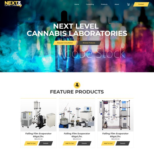 Website design concept for Next Level Cannabis Lab