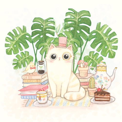 Magical cute cat character illustration
