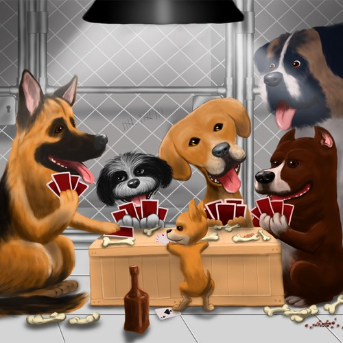 Illustration for Dogs playing Poker!!