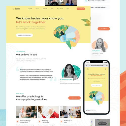 Home Page Redesign for Launch Psychology